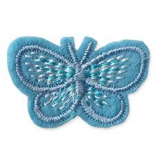 BLUE BUTTERFLY MOTIF IRON ON EMBROIDERED PATCH APPLIQUE